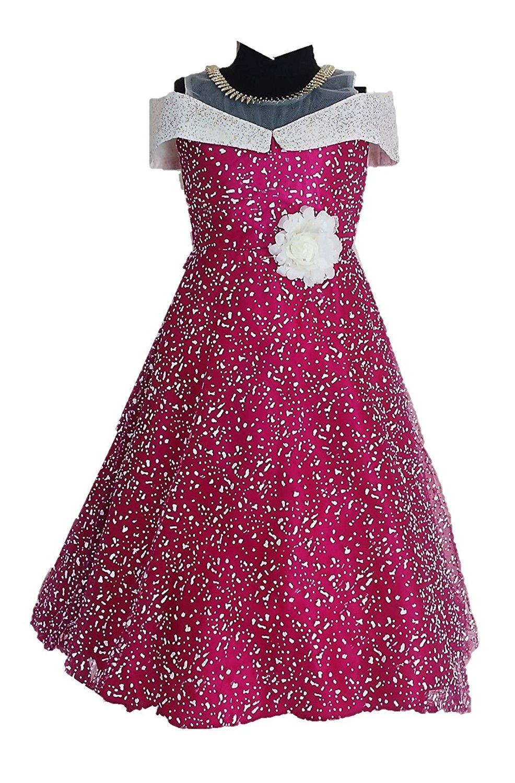 b88dc23a7b My Lil Princess Baby Girls Birthday Party wear Frock Dress_Blue Polka_4-10  Years