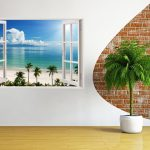 Paper Plane Design 3D Depth Illusion Vinyl Wall Decal Sticker Flat Water Palm Trees Ocean Beach Sea Seascape View